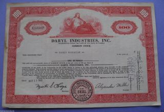 Stock Certificate For Daryl Industries Inc.  Florida 1963 photo
