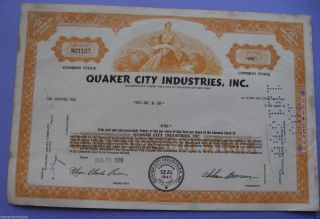 Stock Certificate For Quaker City Industries Inc.  1968 photo