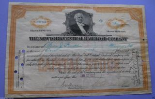 Stock Certificate For The York Central Railroad 1927 photo