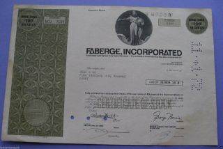 Stock Certificate For Faberge,  Incorporated photo