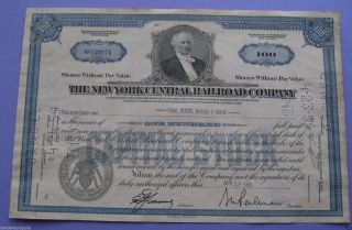 Stock Certificate For The York Central Railroad 1959 photo