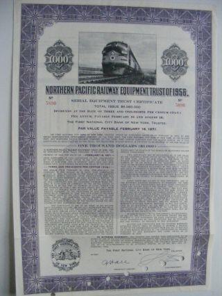 Northern Pacific Railway Equipment Trust Of 1956 Bond photo