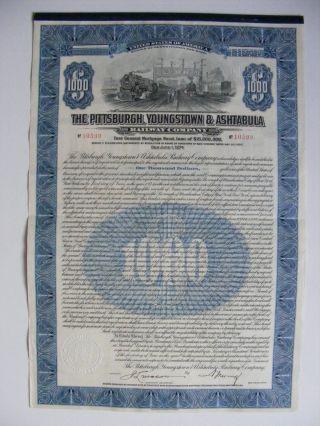 1924 $1000 Pittsburgh,  Youngstown & Ashtabula Railroad photo