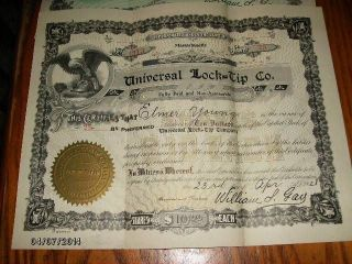 1928 Dated Universal Lock=tip Co.  25 Shares Preferred Stock photo