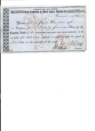 B & O Railroad Co.  Stock Certificate Receipt - 1854 photo