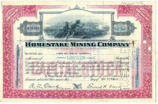 Homestake Mining Company Stock Certificate California photo