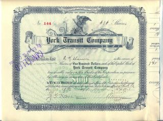 York Transit Company Stock Certificate York Steamboat photo