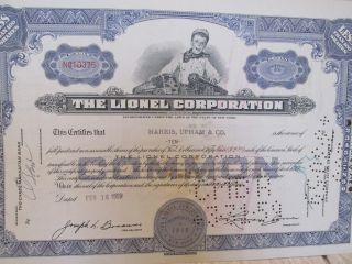 The Lionel Corp.  Stock Certificate Dated Feb,  1959 photo