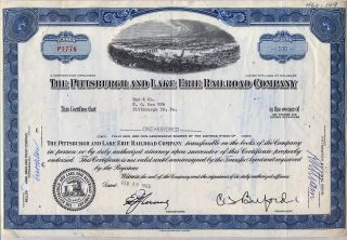 Pittsburgh & Lake Erie Railroad Company Stock Certificate Blue photo