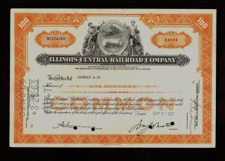 Illinois Central Railroad Company Chicago Iisued To Goodbody & Co 1961 photo