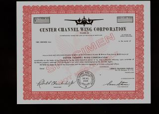 Custer Channel Wing Corporation Aircraft Aviation Rare Specimen photo