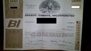 Braniff Stock Certificate photo