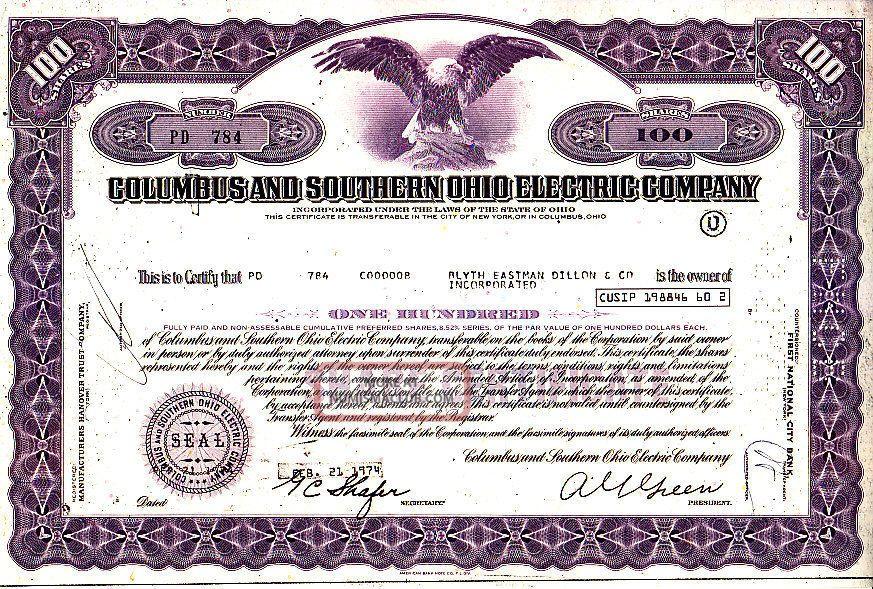 columbus certificate 1974 ohio oh electric cap