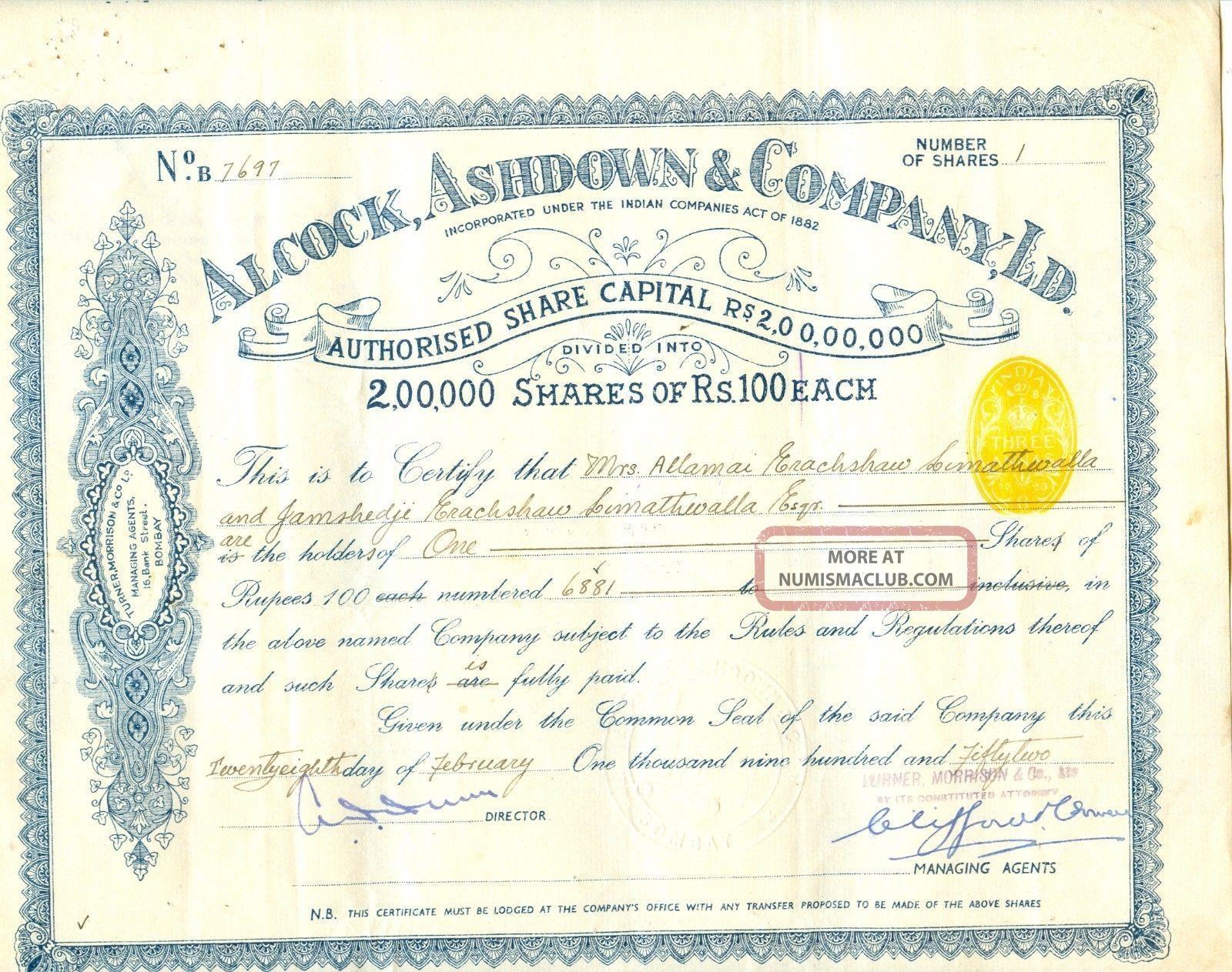 India - Alcock,  Ashdown & Co.  Ltd.  2 Different Share Certificates World photo