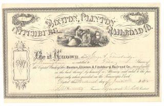 Boston,  Clinton,  Fitchburg Railroad Co.  Year 1875 Usa Share photo
