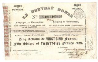 Le Nouveau Monde Company En Comanditte Gold Mines In California 1880 photo