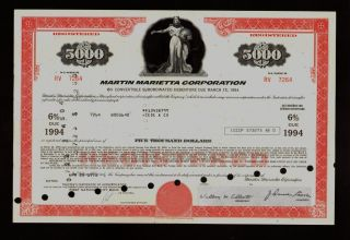 Aerospace : Martin Marietta Corp (now Lockheed Martin) Usd 5,  000 Old Bond photo