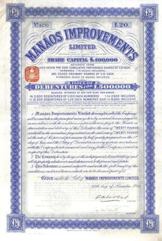 Brazil Bond 1909 Manaos Improvements Ltd £20 Uncancelled Coup Waterlow photo