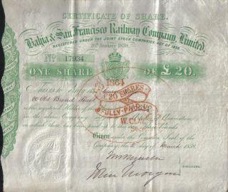 Brazil Uk Gb 1858 Bahia San Francisco Railway Company £20 Uncancelled photo