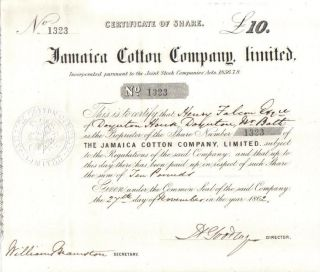 Jamaica Uk Gb 1862 Jamaica Cotton Company Limited Share £20 Uncancelled photo