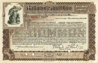 Baltimore And Ohio Railroad Company - Common Stock Certificate - Issued 1899 photo