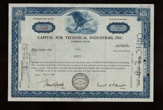 Capital For Technical Industries Inc Ca Old Stock Certificate Dd 1962 photo