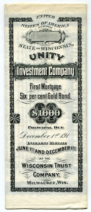 Unity Investment Co.  $1000 Gold Bond,  1909 Unissued photo