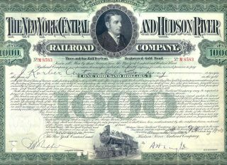 York Central And Hudson River Railroad Company Bond Stock Certificate photo