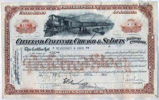 Big Four Cleveland Cincinnati Chicago & St.  Louis Railroad Stock Certificate photo