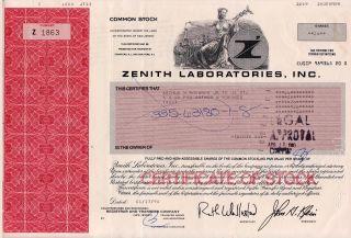 Stock Certificate - Zenith Laboratories Inc 1990 photo