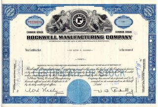 Stock Certificate - Rockwell Manufacturing Company 1964 photo