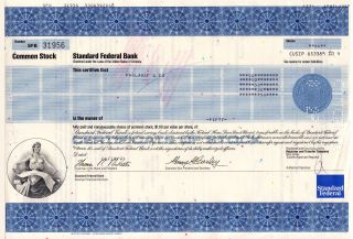 Stock Certificate - Standard Federal Bank 1993 photo