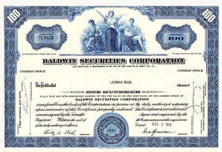 Stock Certificate - Baldwin Securities Corp.  1966,  Belonged To Lehman Brothers photo