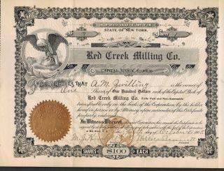 Red Creek Milling Co.  Red Creek Ny 1905 Stock Certificate Wayne County Ny State photo