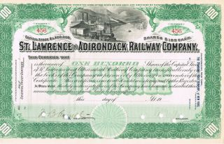St.  Lawrence & Adrondack Railway Co.  Stock Certificate Signed Punched Unissued photo