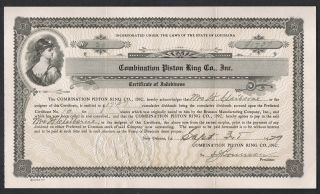 Combination Piston Ring Co.  Orleans La 1929 Certificate Of Indebtness Signed photo