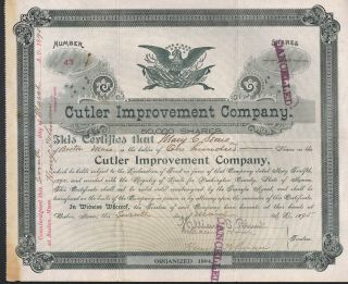 Cutler Improvement Company Boston Ma 1895 Stock Certificate Signed Cancelled photo