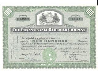 1955 (3/2) Stock Certificate The Pennsylvania Railroad Co.  100 Shares F 690009 photo