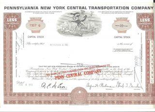 1968 (6/4) Stock Certificate Pennsylvania York Central Transportation Co. photo