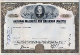 American Telephone & Telegraph Company Stock Certificate At&t photo