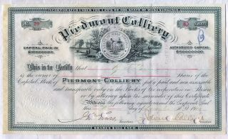 1905 Piedmont Colliery Stock Certificate West Virginia Coal Mine Mining photo