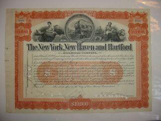 York Haven & Hartford Railroad Company Bond Stock Certificate Orange photo