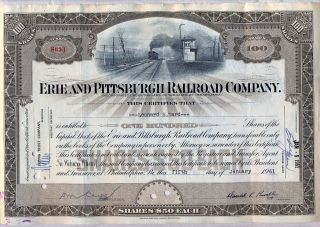 Erie And Pittsburgh Railroad Company Stock Certificate Pennsylvania photo