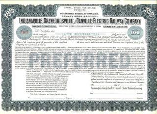 Indianapolis Crawfordsville Danville Electric Railway Stock Certificate Railroad photo