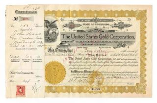 Vintage 1915 United States Gold Corporation Capital Stock Certificate 150 Shares photo