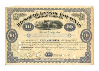 Antique 1885 Missouri,  Kansas And Texas Railway Co.  Stock Certificate 10 Shares photo