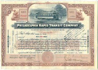 Philadelphia Rapid Transit Company Stock Certificate Railroad Pennsylvania photo