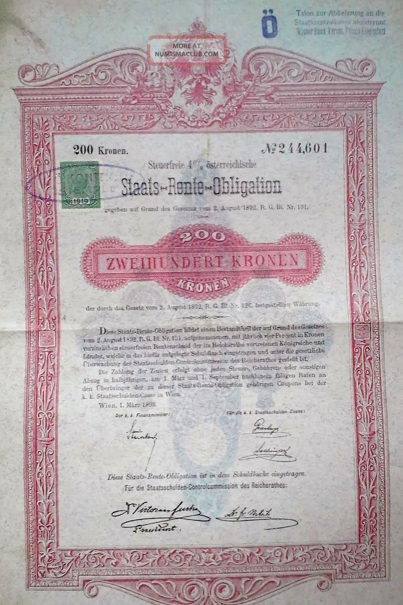 Austria Austrian 1893 Staats Rente Obligation 200 Kronen Bond Loan World photo