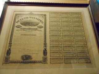 1883 Duluth & Winnipeg Rr Mortgage Income Bond Uncut Sheet Framed photo
