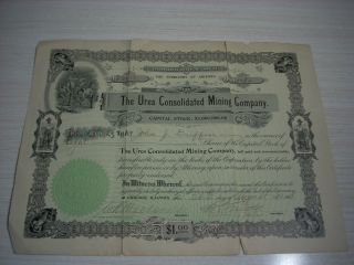 The Ures Conslidated Mining Company Certificate 1908 - The Territory Of Arizona photo